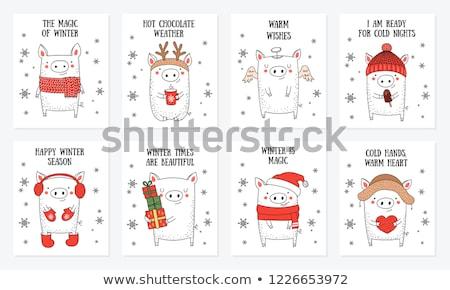 с Новым годом свинья праздник дизайна открытки вектора Сток-фото © robuart