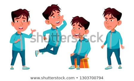 Stockfoto: Asian · jongen · kleuterschool · kid · ingesteld · vector