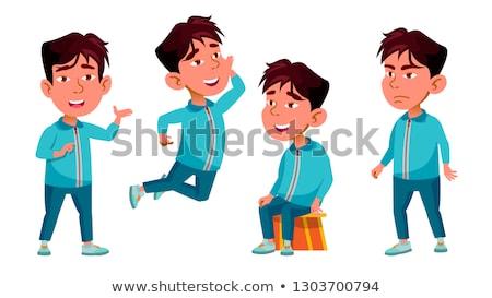 иллюстрация · детей, · играющих · классе · ребенка · мальчика · черный - Сток-фото © pikepicture