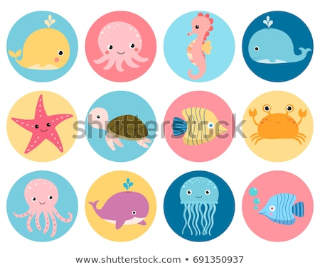 Cute colorful cartoon sea animals in circle for baby designs, kids invitations and summer greeting c stock photo © bonnie_cocos