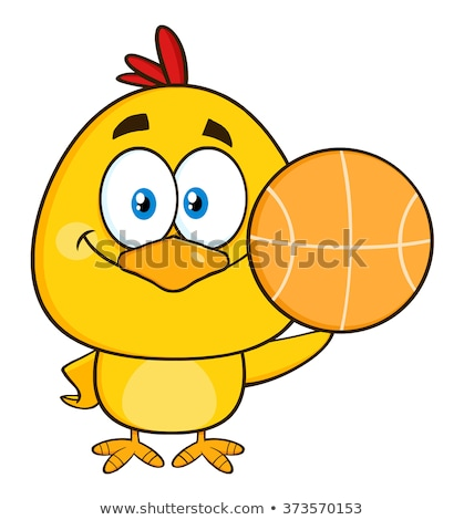 Cute Yellow Chick Cartoon Character Holding A Basketball Stock photo © hittoon