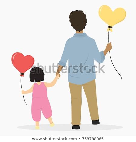 Kinderen lopen ballonnen blijde weinig leraar Stockfoto © liolle