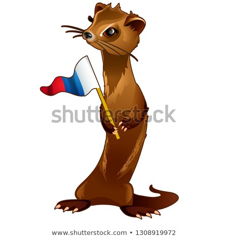 Fur forest animal holding a flag in the paws in the style of the Russian flag of the tricolour isola Stock photo © Lady-Luck