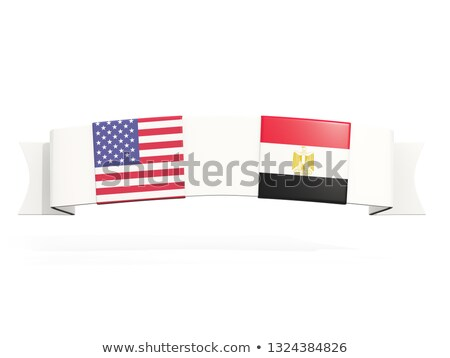 Banner with two square flags of United States and egypt Stock photo © MikhailMishchenko