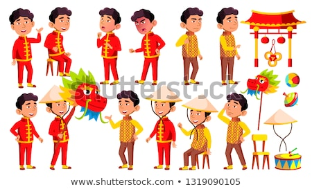 Asian Boy Kindergarten Kid Poses Set Vector. Festival, Dragon. Character Playing. Childish. Casual C Stock photo © pikepicture