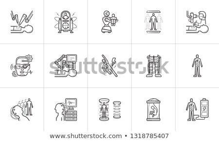 gyógyszer · kézzel · rajzolt · skicc · firka · ikon · gyűjtemény · nyomtatott - stock fotó © rastudio