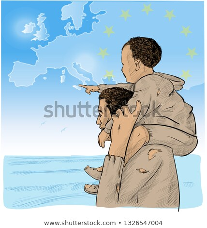 father and son immigrants in front of the european map stock photo © doomko