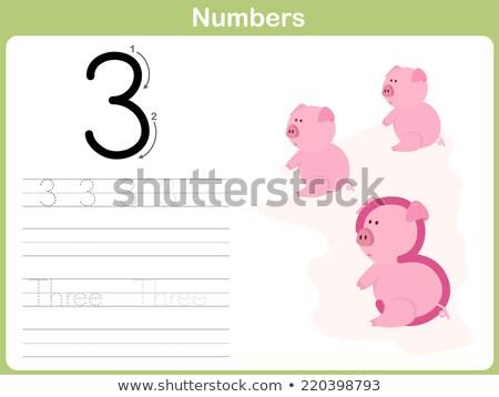 número · três · alfabeto · escrita · aprender · coral - foto stock © colematt