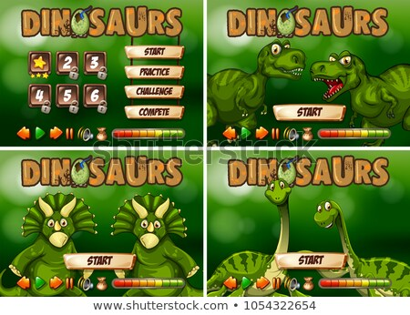 Játék sablon dinoszaurusz tájkép művészet felirat Stock fotó © colematt