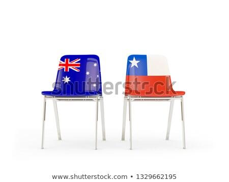 Kettő székek zászlók Ausztrália Chile izolált Stock fotó © MikhailMishchenko