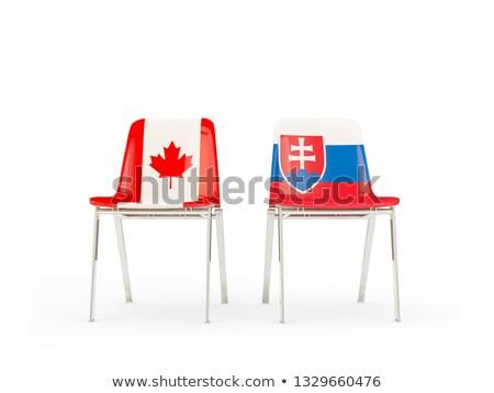 Dos sillas banderas Canadá Eslovaquia aislado Foto stock © MikhailMishchenko