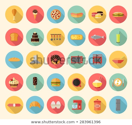 microwave kitchenware flat icon vector Stock photo © vector1st