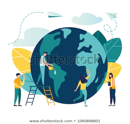 Earth Day illustration of people celebration Stock photo © cienpies