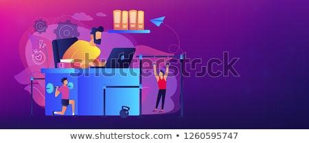 Werkruimte banner zakenman werken Stockfoto © RAStudio
