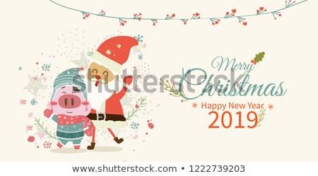 Warm wensen gelukkig vakantie varken vector Stockfoto © robuart
