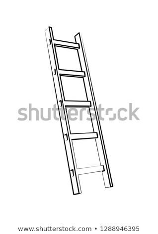 Létra lépcső vektor ikon lépcsőház lépcsőfeljáró Stock fotó © nosik