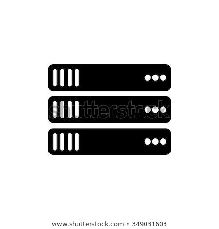 Szerver rack ikon árnyék tükröződés terv számítógép Stock fotó © angelp