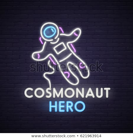 űrhajós neon címke űr promóció férfi Stock fotó © Anna_leni