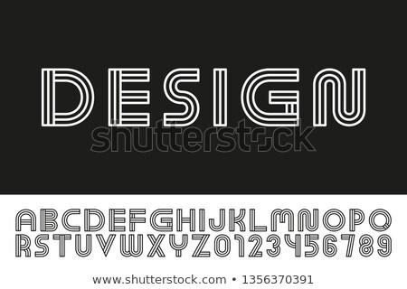 Modern designer linear font. Trendy english alphabet. Striped latin letters and numerals - digital m Stock photo © ExpressVectors