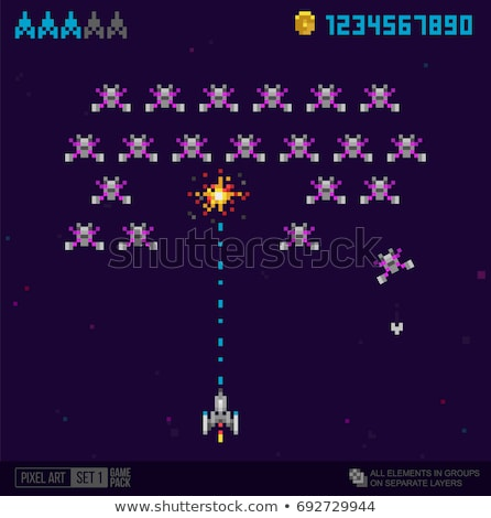 Space Game Pixel Art, Aliens and Spaceship Icons Stock photo © robuart