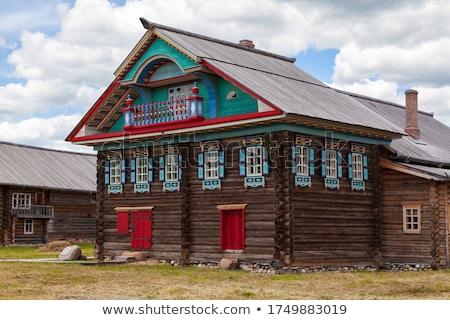 крестьянский · дома · зима · дерево · древесины - Сток-фото © fanfo