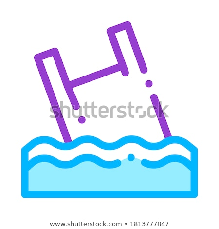 Stock photo: Bag Junk Flotsam In Ocean Vector Thin Line Icon