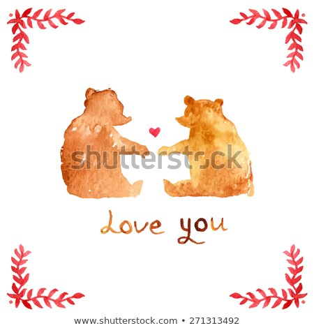 beer · hart · illustratie · cute · weinig · teddybeer - stockfoto © frimufilms