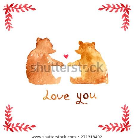 バレンタイン 日 カード テディベア カップル ベクトル ストックフォト © frimufilms