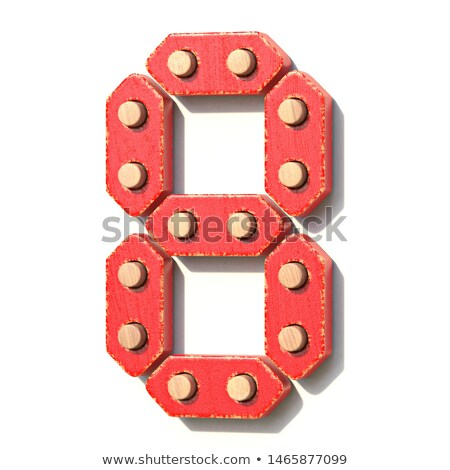 Wooden toy red digital number 8 EIGHT 3D Stock photo © djmilic