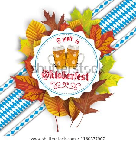 oktoberfest cover bavarian emblem foliage beer stock photo © limbi007