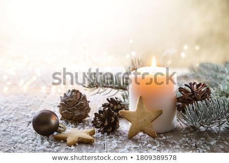 Karácsony gyertyafény gyertya fenyőfa ág kúp Stock fotó © jsnover