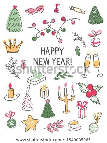 Hand · gezeichnet · Kritzeleien · Kontur · line · Illustration · Neujahr - stock foto © balabolka