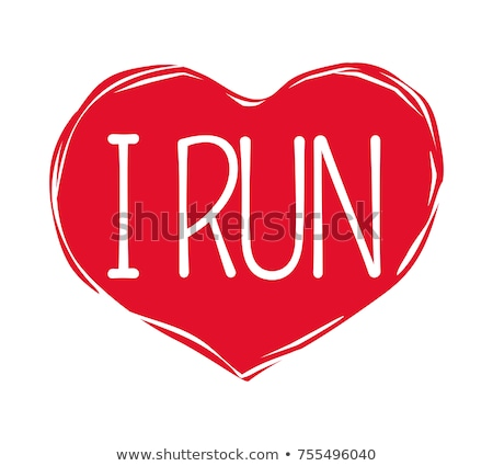 I Love Run Text in Red Hand Drawn Heart. Logo Sign Stock photo © robuart
