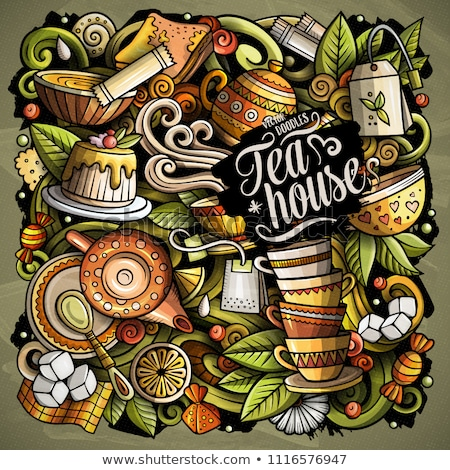 Cartoon doodles Tea illustration. Cafe funny picture Stock photo © balabolka