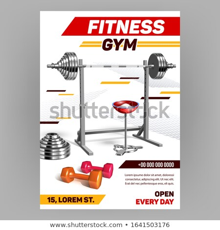 Barbell On Rack And Chalk Powder In Bowl Vector Stock photo © pikepicture