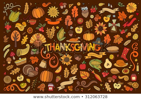 Colorful hand drawn doodle cartoon set of Thanksgiving objects and symbols Stock photo © balabolka