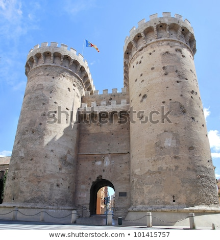 Tornyok Valencia Spanyolország öreg középkori fal Stock fotó © borisb17