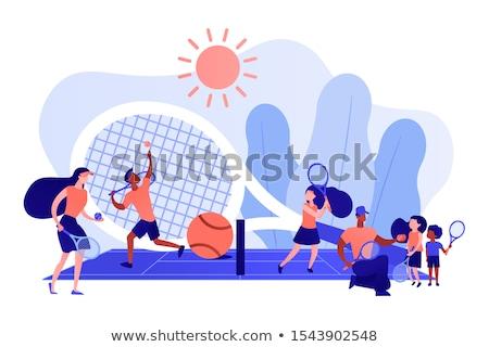 Tenisz tábor gyerekek bíróság gyakorol nyári tábor Stock fotó © RAStudio