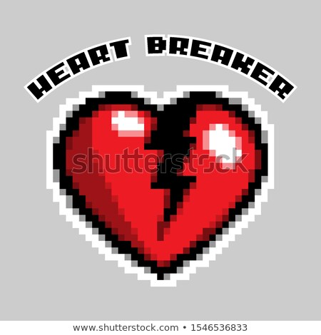 Pixel Art Heart Breaker Love And Valentine Vector Illustration Foto stock © Tashatuvango