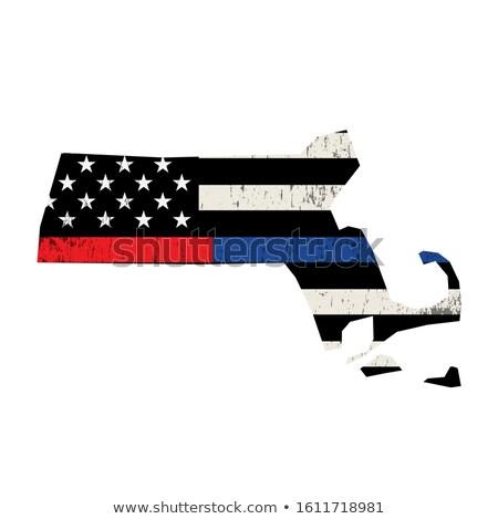 Massachusetts polícia bombeiro apoiar bandeira bandeira americana Foto stock © enterlinedesign