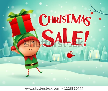 Joyeux Noël carte de vœux elf tenir présente Photo stock © robuart