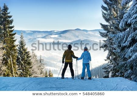 Skiën paar ski resort winter landschap Stockfoto © robuart