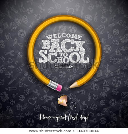 Back To School Design With Chalkboard And Typography Lettering On Yellow Background Vector Educatio Stok fotoğraf © articular