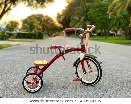 üç tekerlekli bisiklet ikon ince hat vektör web Stok fotoğraf © smoki