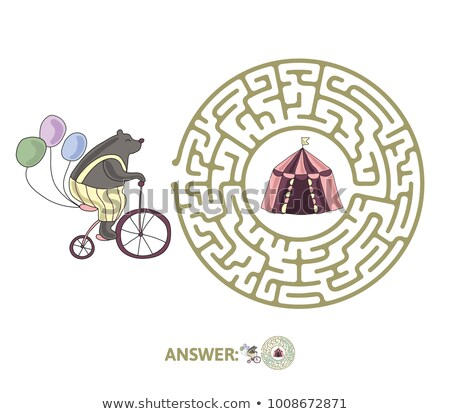 Maze, labyrinth with solution, vector illustration. Round, circular maze. High quality vector.  Stock photo © ukasz_hampel