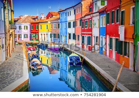 Evler Venedik küçük ev pembe sarı Stok fotoğraf © Stocksnapper
