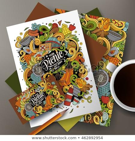 Pique-nique dessinés à la main doodle bannière cartoon détaillée Photo stock © balabolka