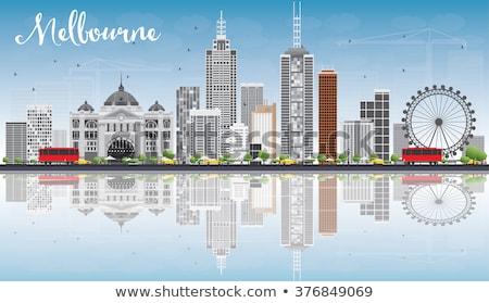 Melbourne linha do horizonte cinza edifícios blue sky reflexões Foto stock © ShustrikS