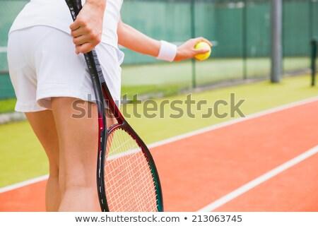 Kadın top tenis kortu yakın net uygunluk Stok fotoğraf © Kzenon