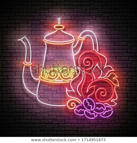 Vintage Glow Signboard with Decorated Turkish Pot and Roasted on Stock photo © lissantee
